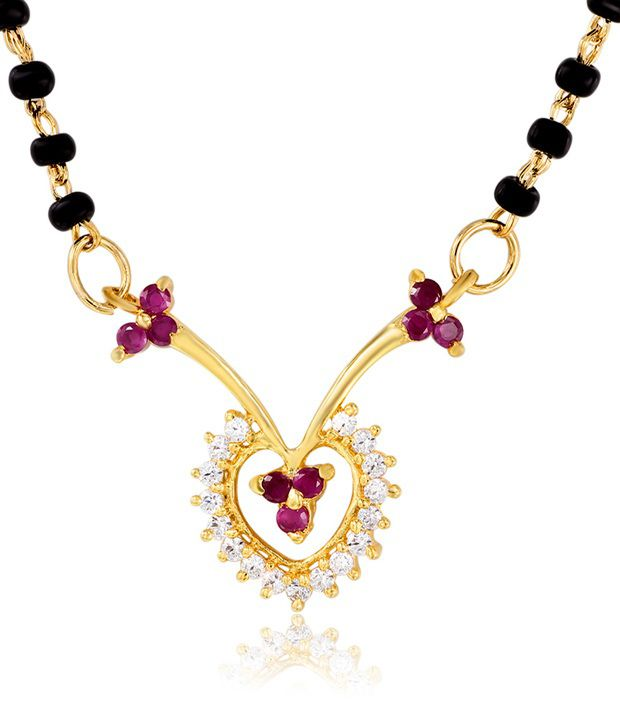 Mahi Gold Plated Wedlock Mangalsutra Pendant with CZ and Ruby Stones