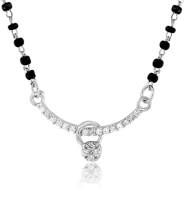 Mahi Rhodium Plated Frolicsome Mangalsutra  with CZ Stones