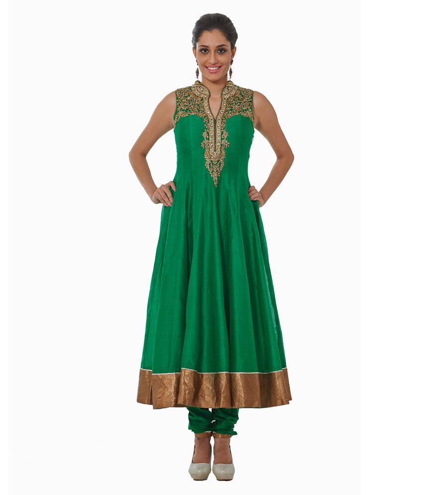 Tamanna Green Embroidered Chanderi Stitched Anarkali Salwar Suits