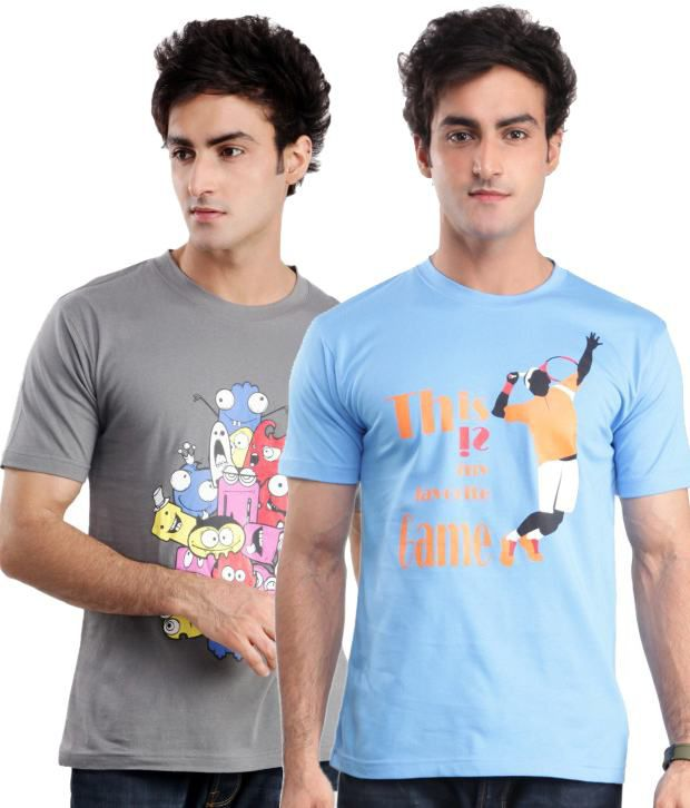 ZEZILE Gray Blue Half Cotton Round  T-Shirt