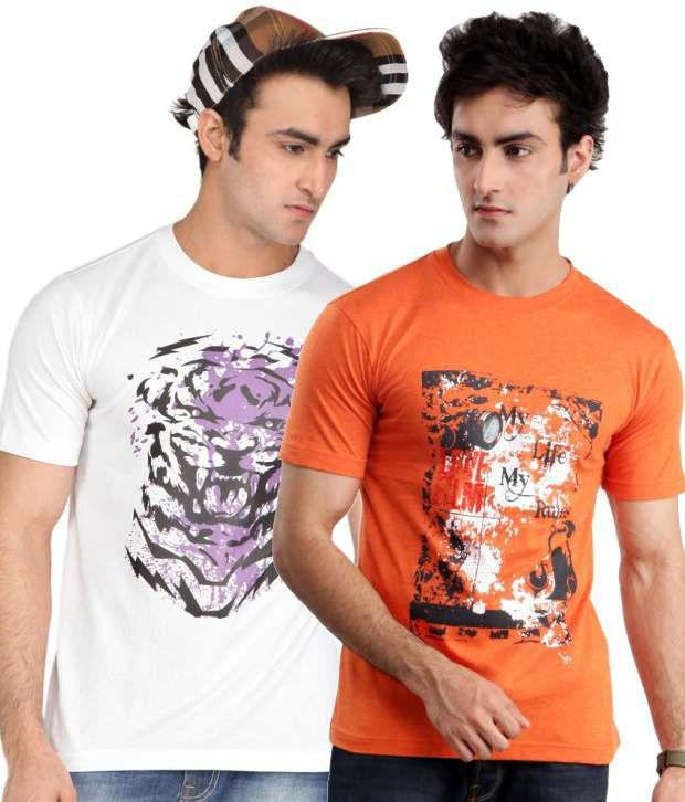 ZEZILE White Orange Half Cotton Round  T-Shirt