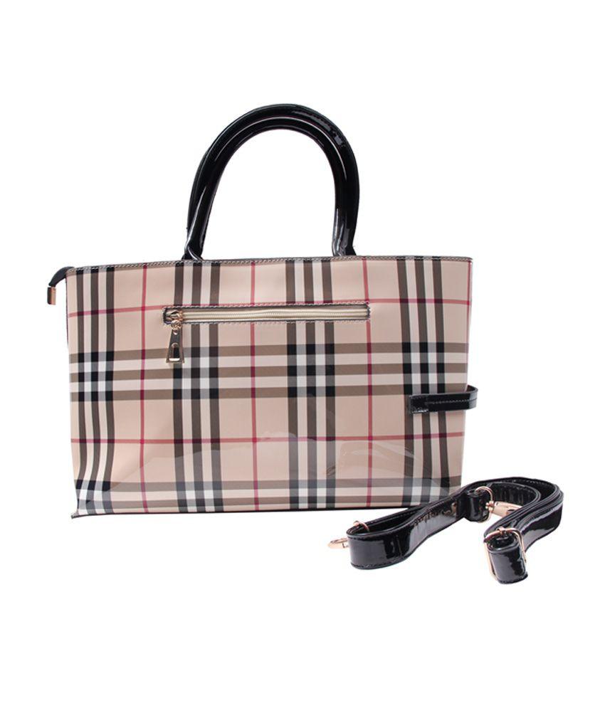 Daks Burberry Print Cream Black Satchel Bag - Buy Daks Burberry ... 785c103c92