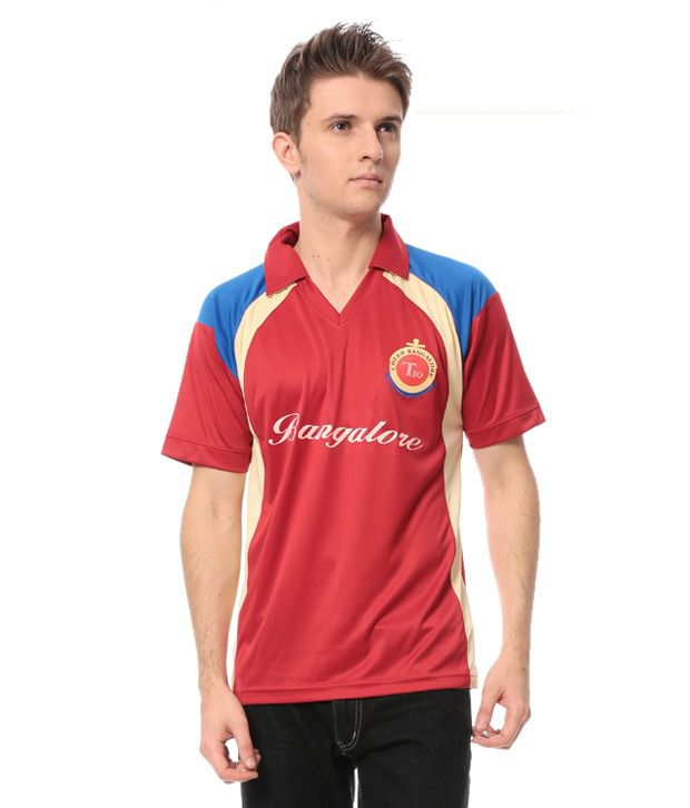 Cricket Fan Gear Red Polyester Polo T-Shirt