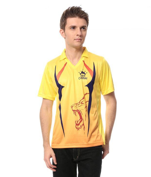 Cricket Fan Gear Yellow Polyester T-Shirt