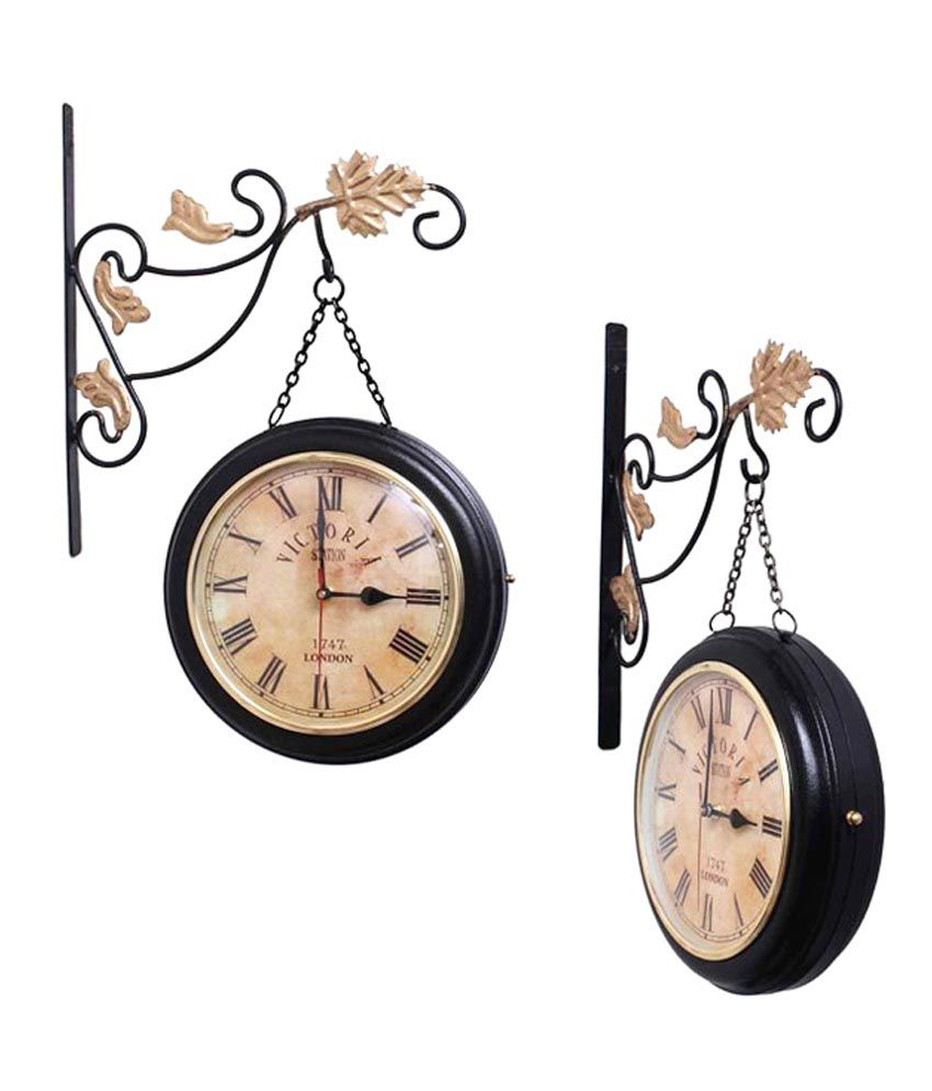 Nirvair 10 Dia Station Wall Clock Double Side Hanging on Chain