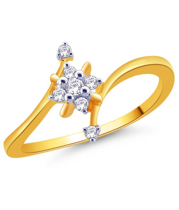 92.5 Sterling Silver Cubic Zirconia Floral Ring by Ishaan Gems
