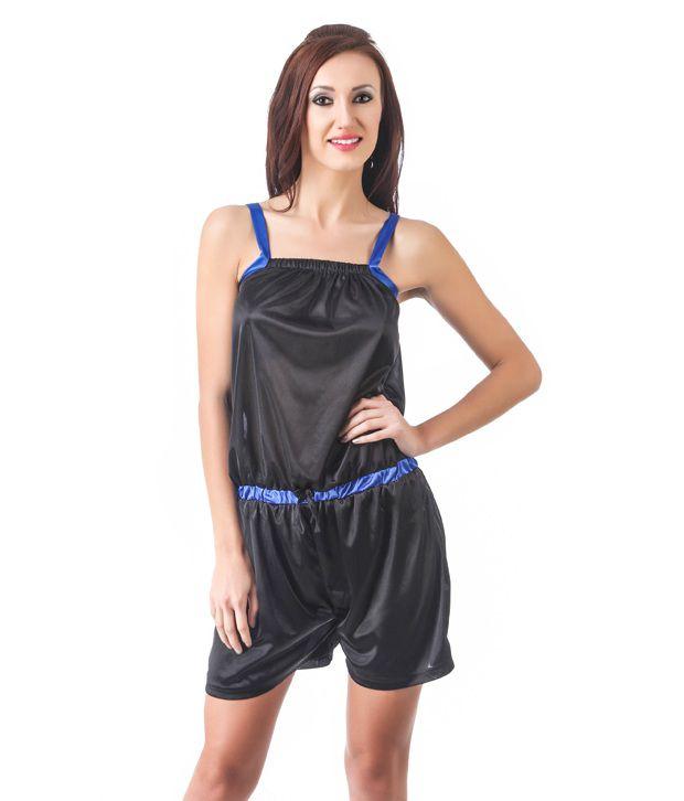 Fasense Black Satin Jumpsuit