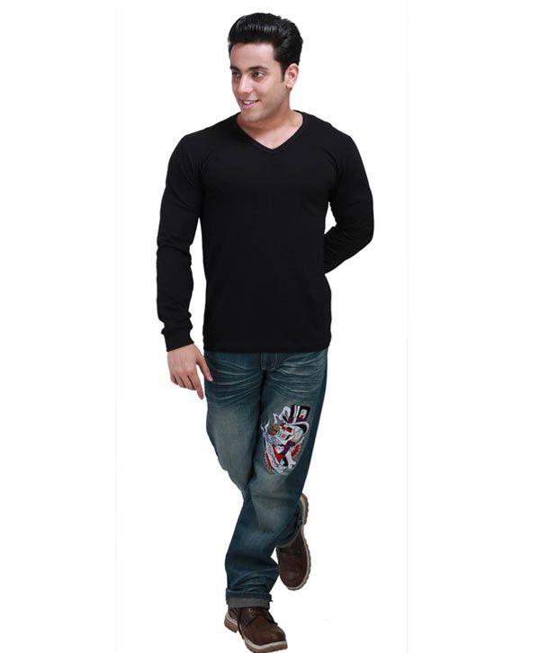 Inkovy Stylish V Neck Full Black T-shirt - Buy Inkovy Stylish V ...