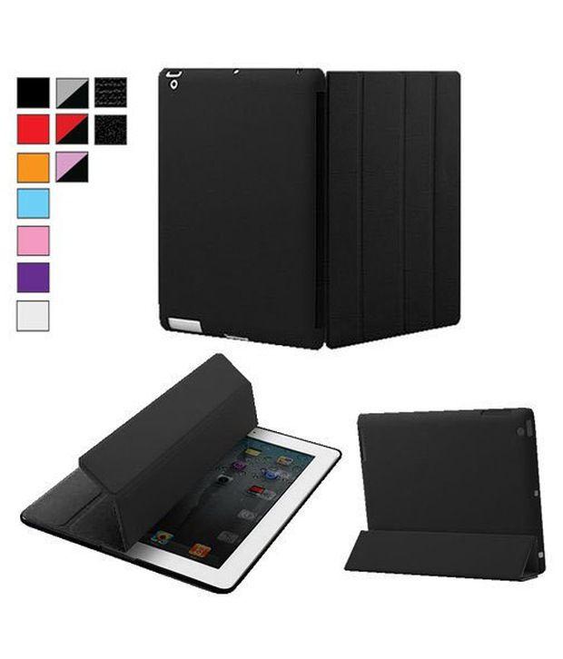 KHOMO Dual Black Case Front + Hard Rubberized Back Protector for Apple iPad 2 iPad 3 & iPad 4