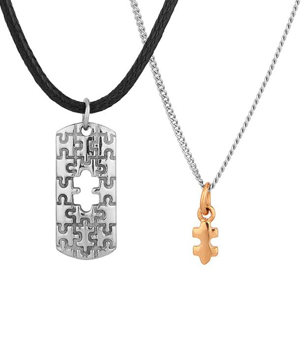 Voylla Two-In-One Jigsaw Puzzle Pendant Featuring Twin Pendants For Him and Her