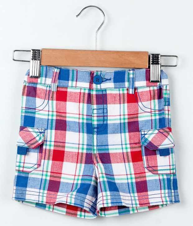 Beebay Blue & Red Checks Cargo Pocket Shorts For Kids