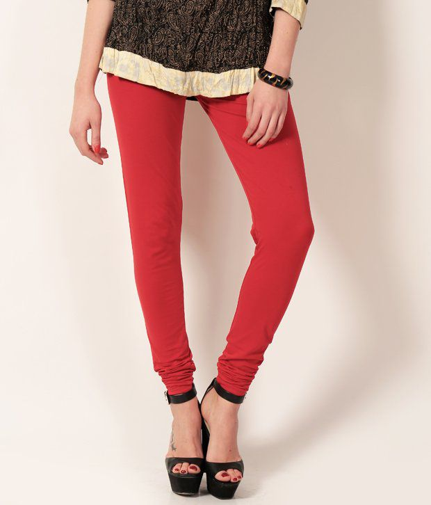 Colors & Blends Red Blended Leggings Knitted