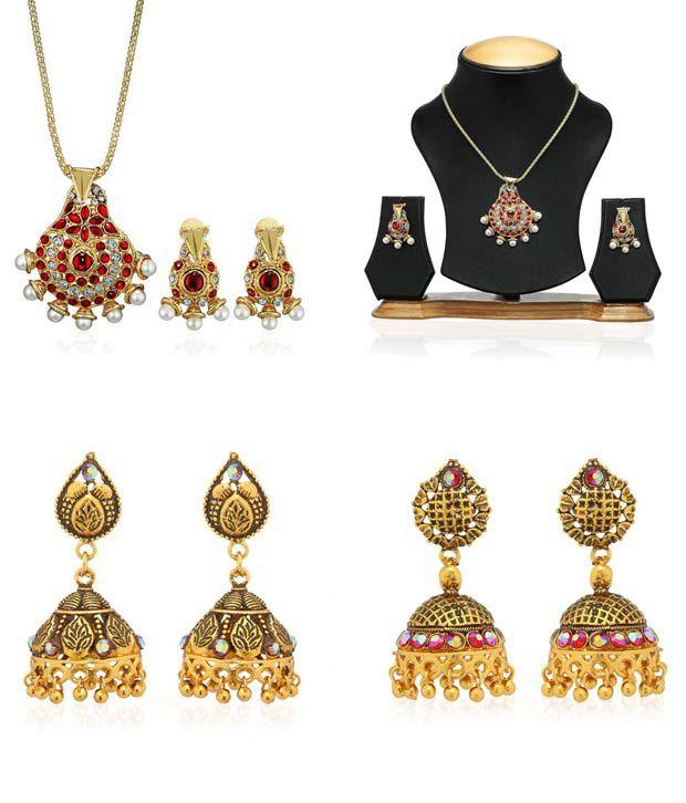Oleva Traditional Earrings and Pendant Set Combo