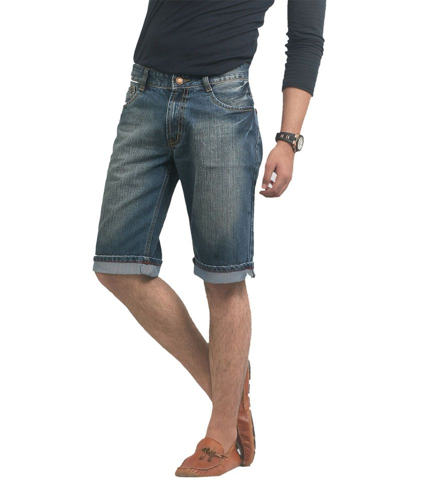 Ripfly Blue Cotton Denim Shorts