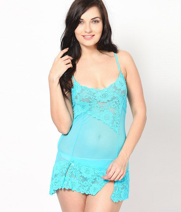c6d3f113dab Buy Ginni Blue Net Nighty & Night Gowns Pack of 2 Online at Best ...