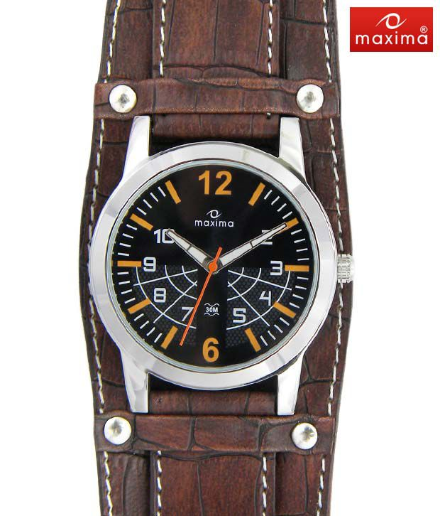 Maxima Brown Thick Strap Watch-PA-E-24260LMGI