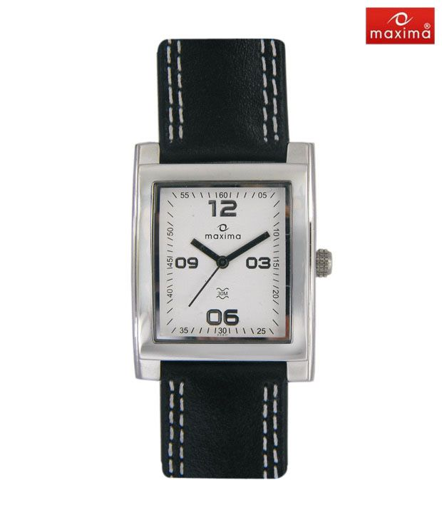 Maxima Stylish Black Leather Strap Watch