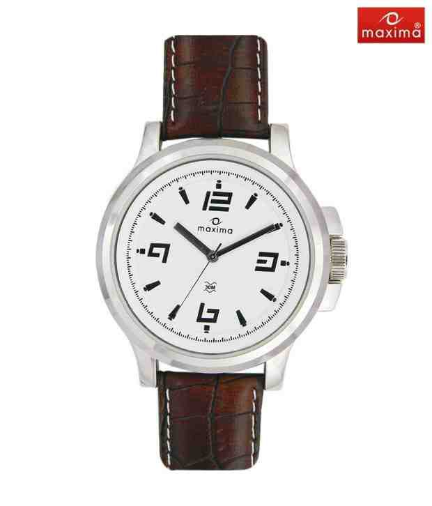 Maxima Stylish Brown Leather Strap Watch