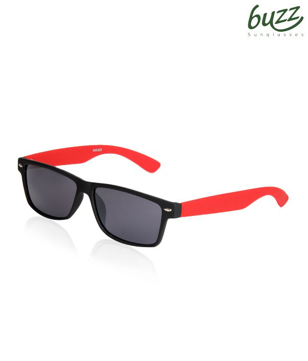 Buzz Black Red Wayfarer Sunglasses