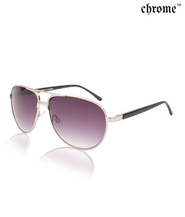 Chrome Modish Gold Tone Frame Aviator Sunglasses