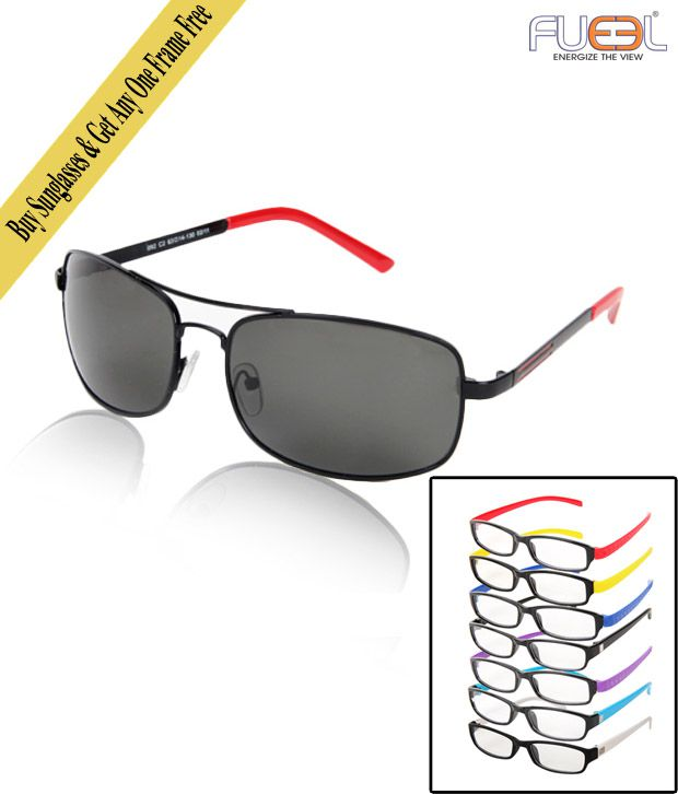 Fueel Valiant Black Sunglasses With Free Optical Frame worth Rs.299