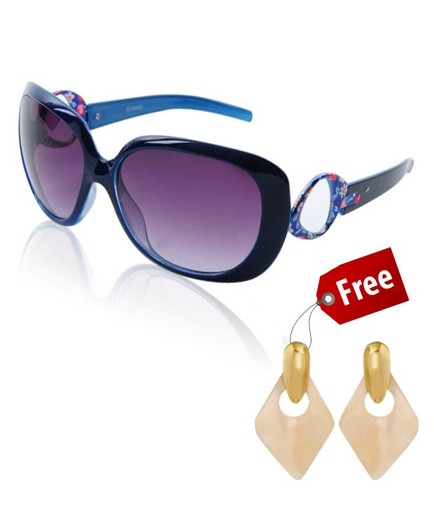G9 Blue Blossoms Sunglasses With free Mother Of Pearl Earrings Worth Rs.65
