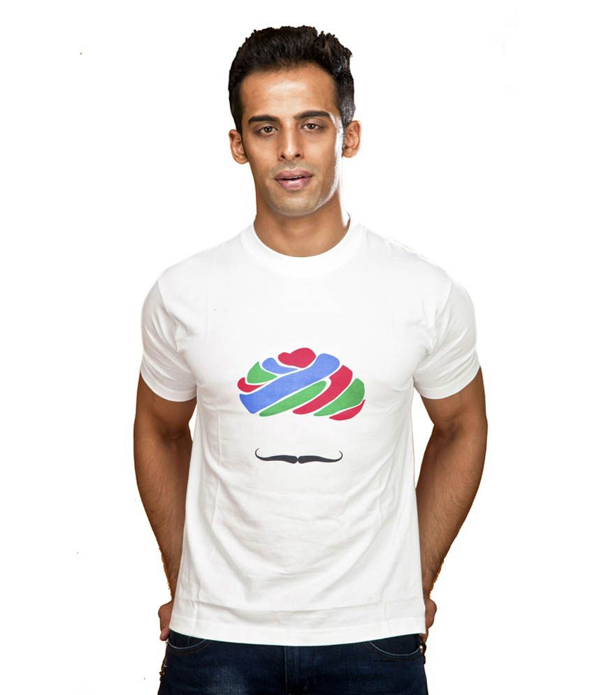 Indophile White Half Cotton Round T-Shirt