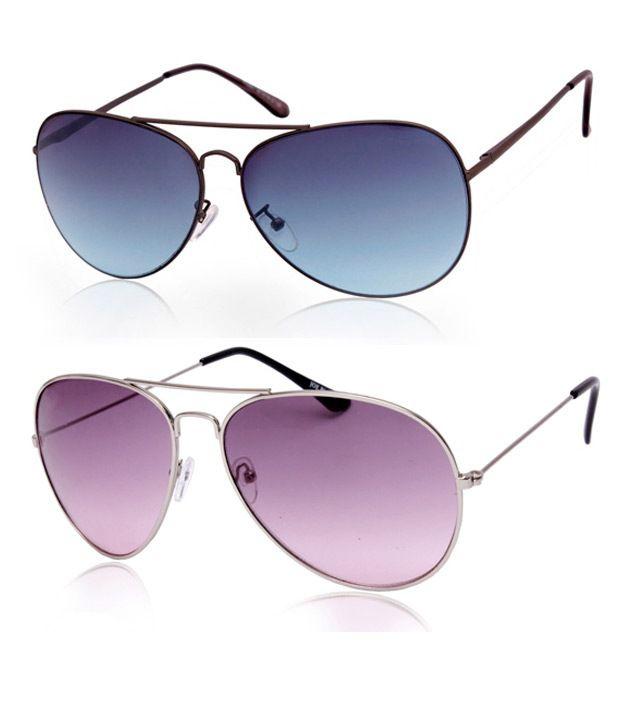 Joe Black Inspiring Silver-Purple Aviator Buy 1 Get 1 Black-Blue Aviator Free