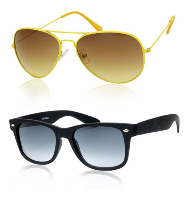 Joe Black Lovely Yellow Aviator Buy 1 Get 1 Black Wayfarer Free