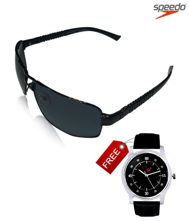 Speedo Slic Aviator  Black Sunglasses With Free MTV Watch Worth Rs 2999