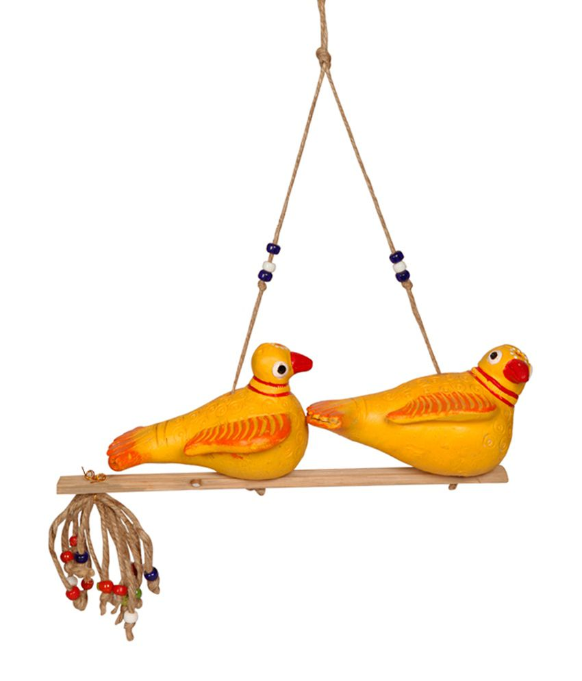 ExclusiveLane Yellow Terracotta Handpainted Sitting Birds
