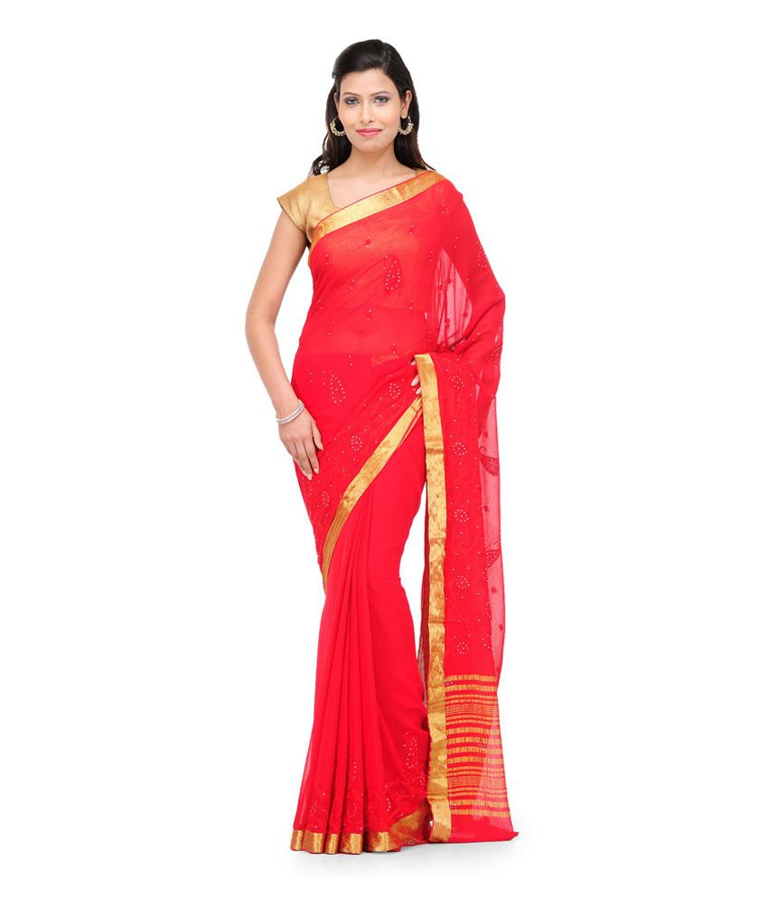 Fabroop Red Embroidered Viscose  Saree