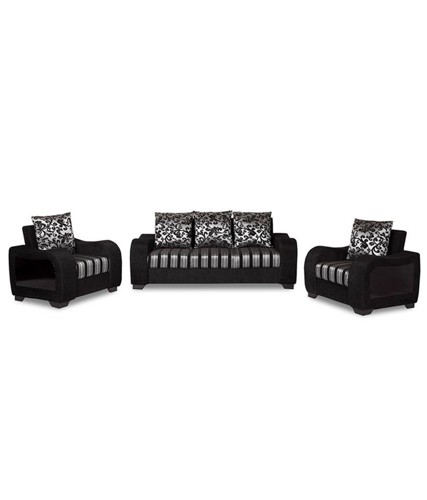 Gem 3 1 1 Sofa Set With 5 Big Cushions Handle Side Wooden Buy Gem