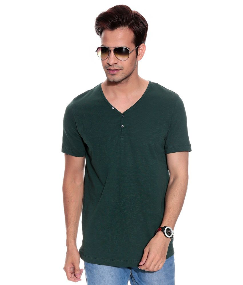 Uni Style Image Green Half Cotton Henley  T-Shirt