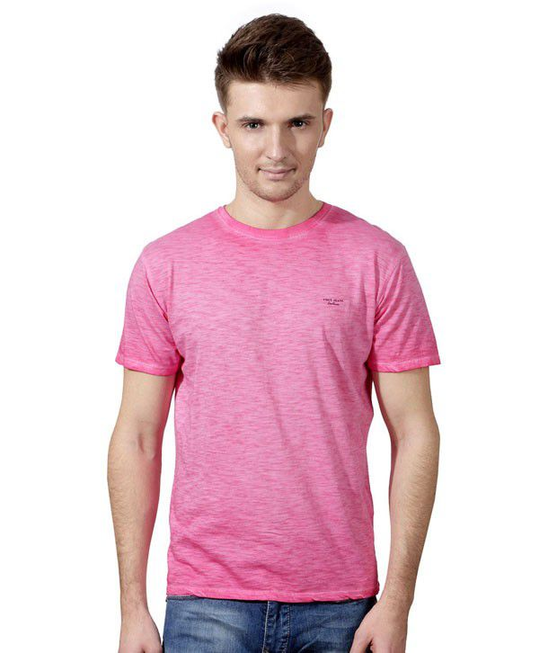 Van Heusen Pink Half Cotton High Neck  T-Shirt