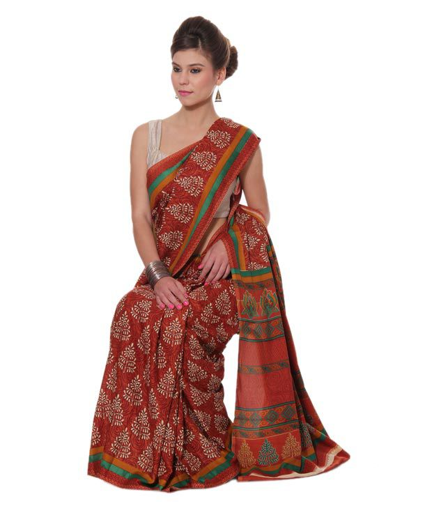18936d63eeda49 Aalya Brown Printed Saree With Unstitched Blouse Piece - Buy Aalya ...