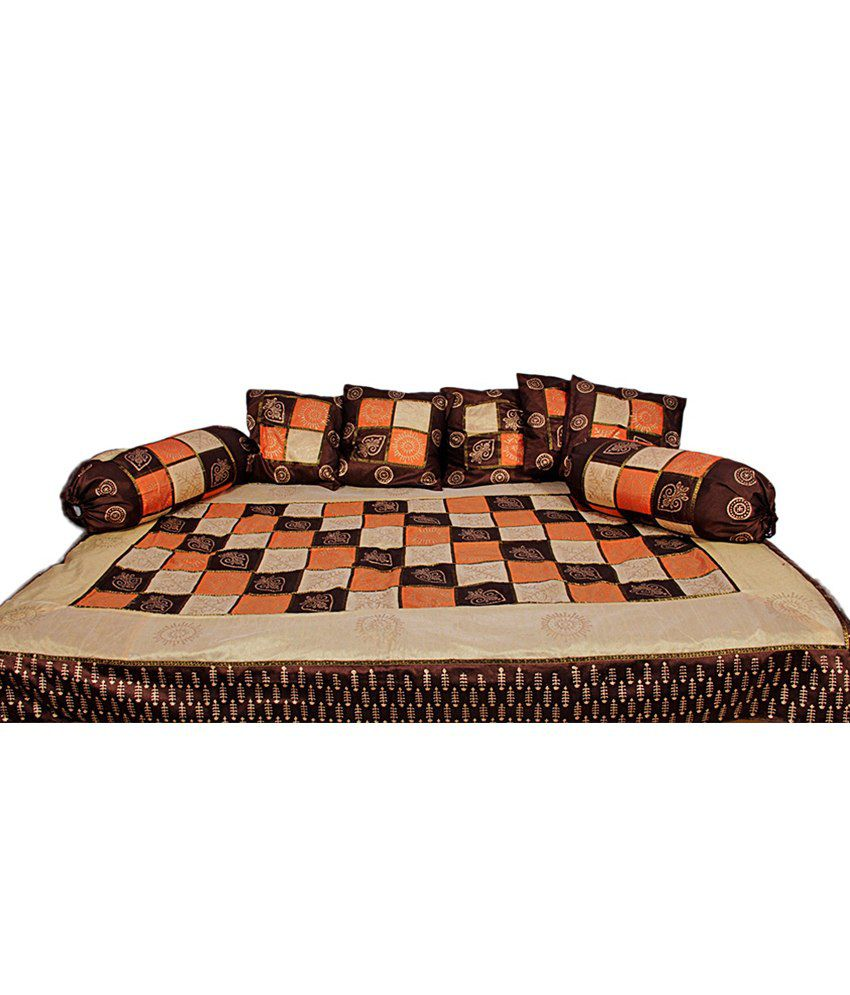 Rajasthani Sarees Brown Checks Silk Diwan Set