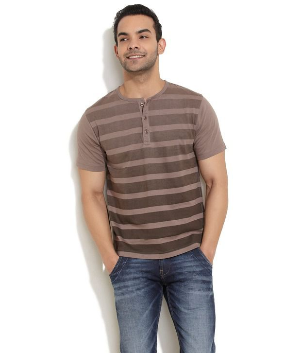 Rattrap Brown Half Cotton Henley  T-Shirt