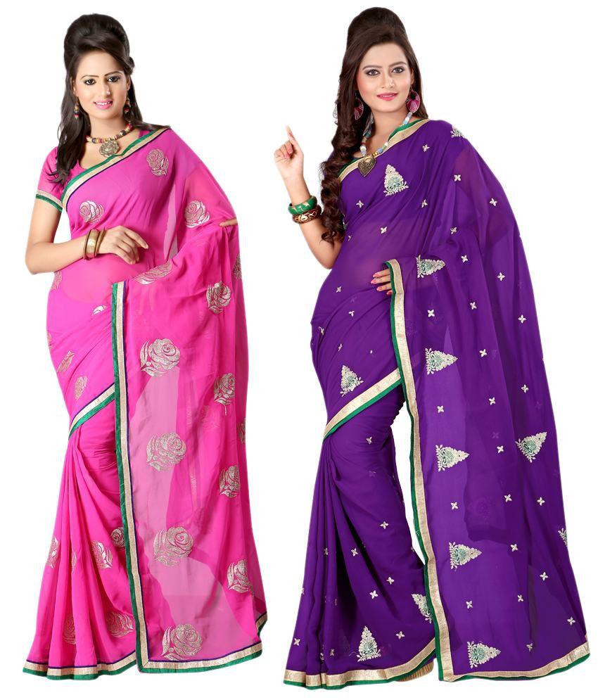 Ansu Fashion Multi Color Embroidered Faux Georgette Saree