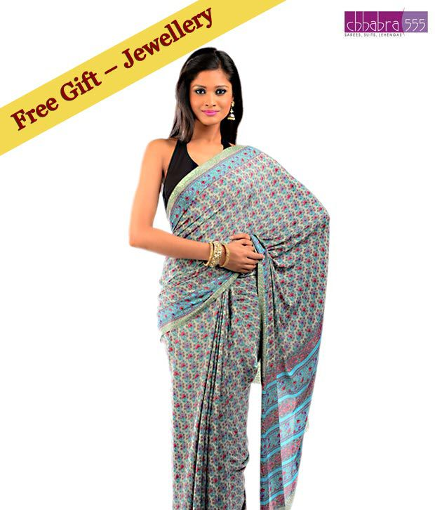 Chhabra 555 Blue-Green Art Crepe Printed Saree With Free High-End Jewelry Piece