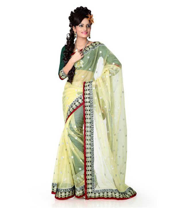 Designer Sarees Yellow Net Saree