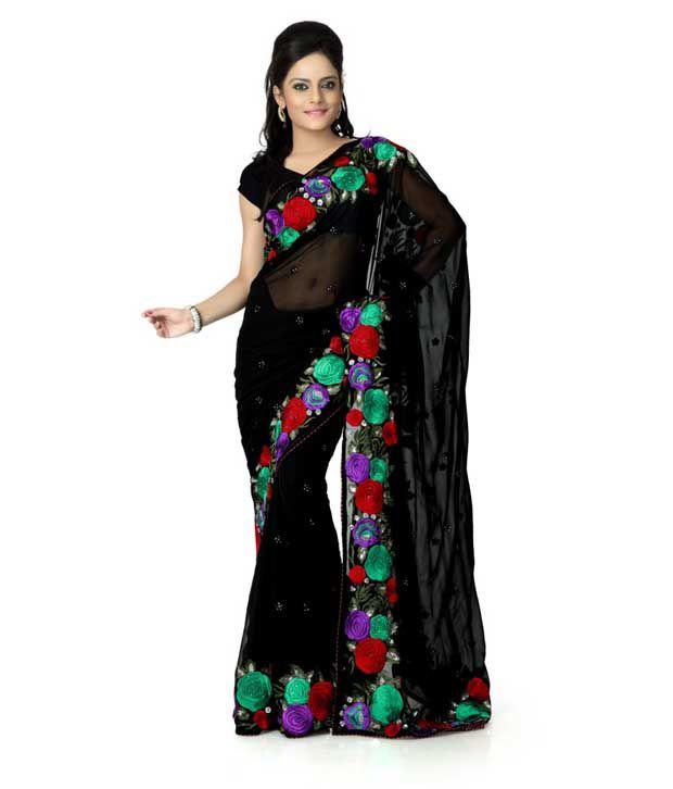 Designer Sarees Black Georgette Saree