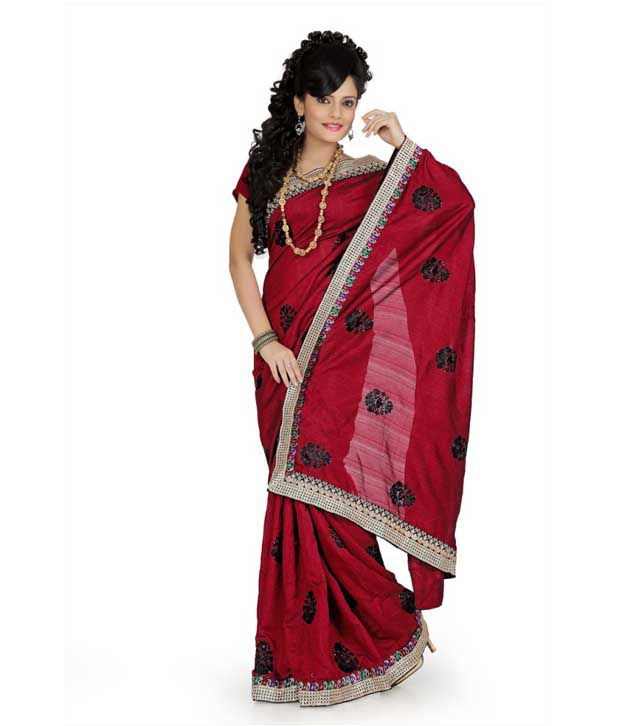 Designer Sarees Maroon Art Silk Saree