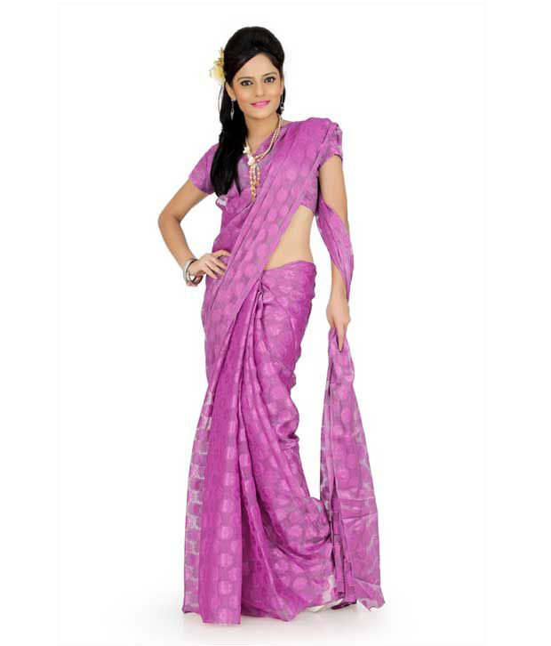 Designer Sarees Purple Net Saree