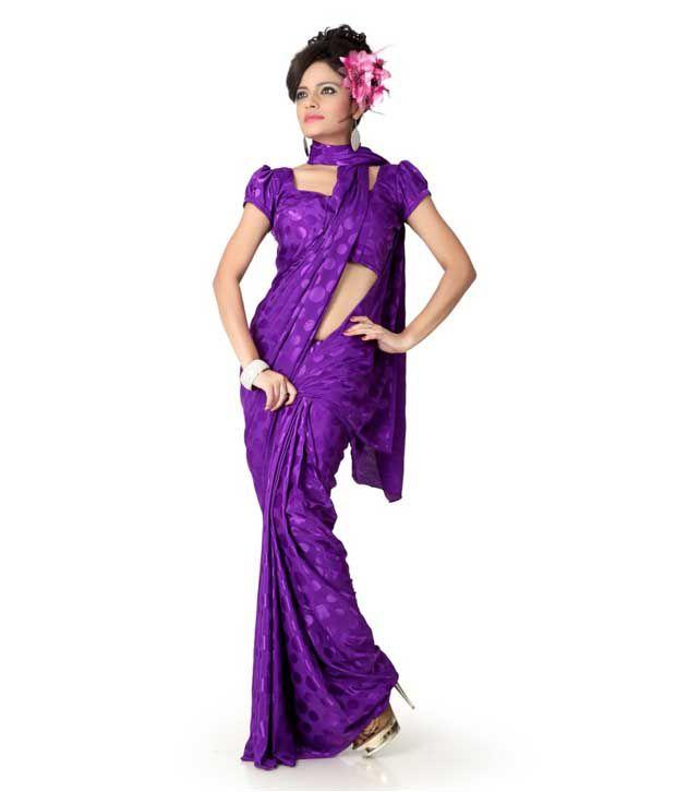Designersareez Purple Polka Saree