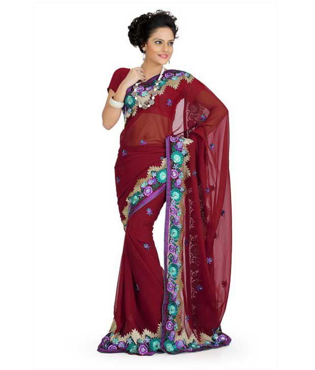 Designer Sarees Maroon Georgette Saree