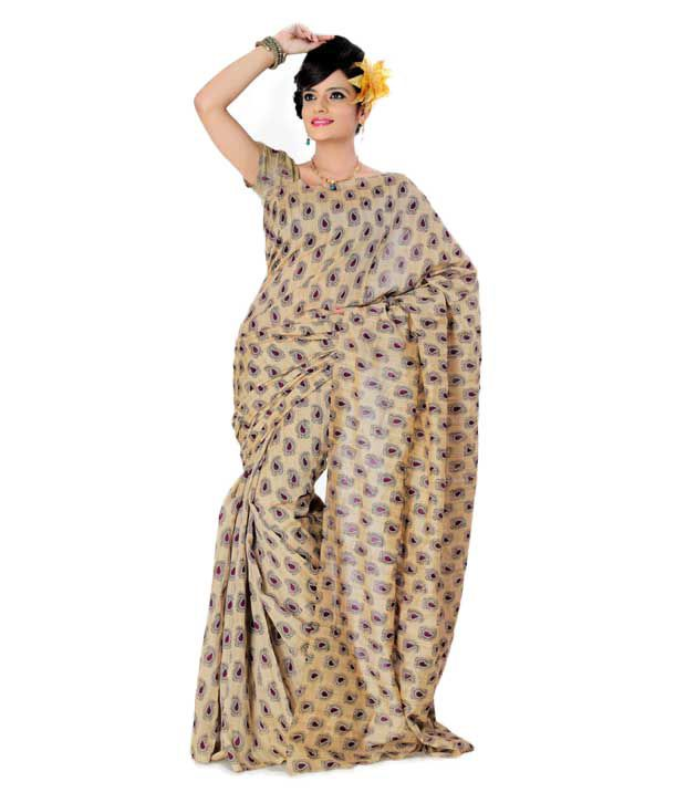 Designer Sarees Beige Art Silk Saree