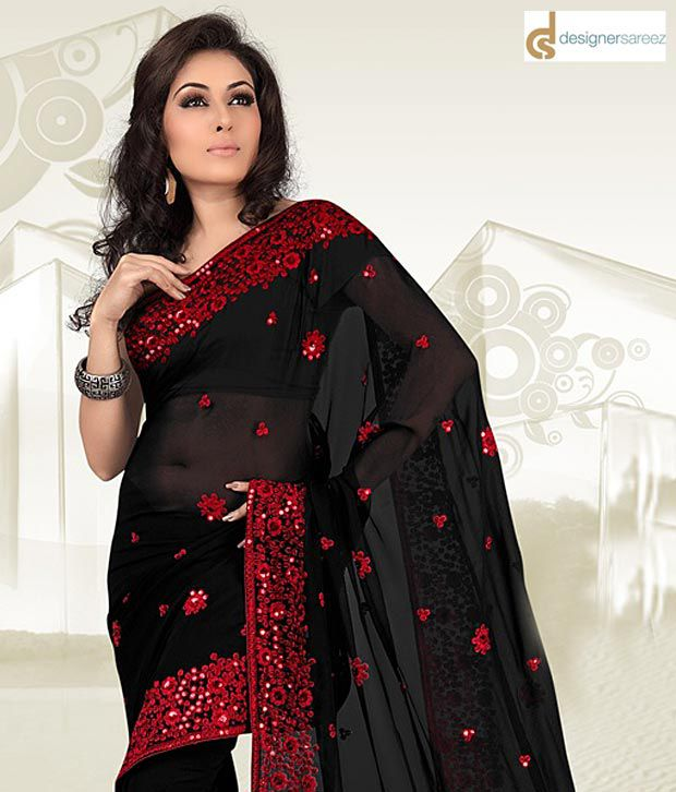 a4634aaa05e Designer Sarees Black Georgette Saree - Buy Designer Sarees Black Georgette Saree  Online at Low Price - Snapdeal.com