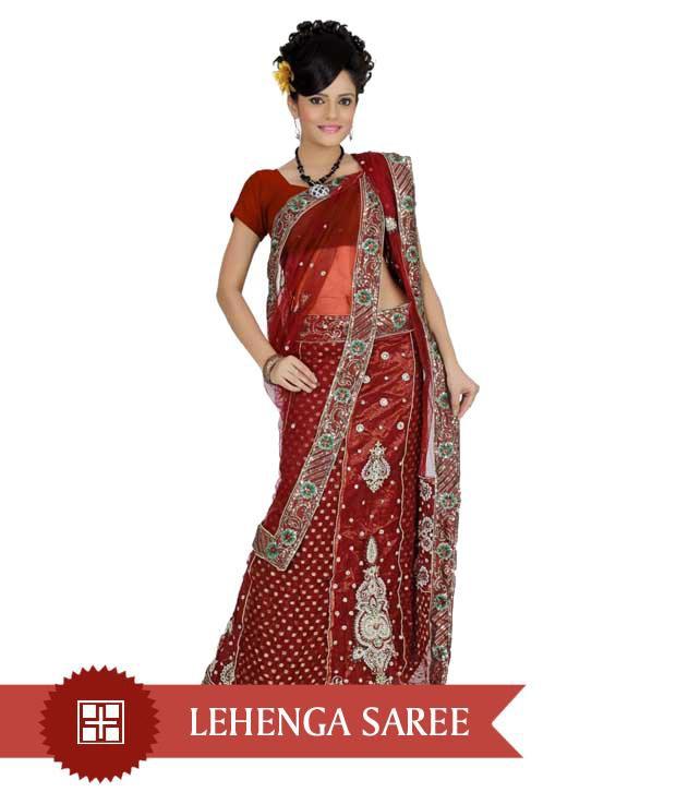 Designer Sarees Maroon Net Saree