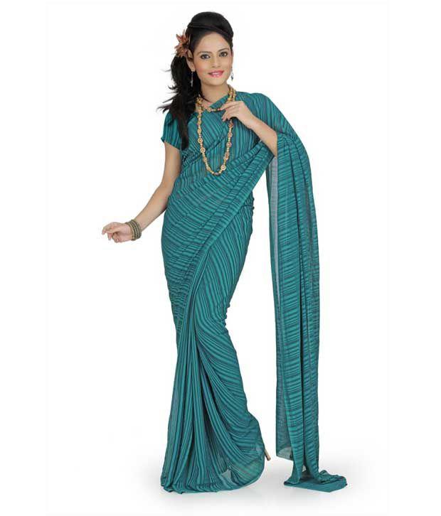 Designer Sarees Green Chiffon Saree